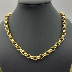 Ladies Necklace 10ct(417, 10K)Yellow Gold Diamond (24pts) MHJ Oval Belcher Chain