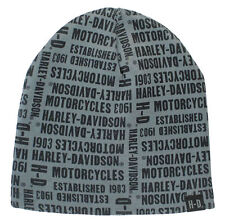 Harley-Davidson Men's Repeated H-D Text Knitted Beanie Cap, Gray KN19180 RETIRED