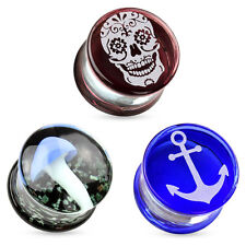Flesh Tunnel Pyrex Glas Motiv Plug Ohr Piercing Schmuck Double Flared Ear Tube