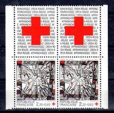 FRANCE PAIRE TIMBRE CROIX ROUGE AVEC VIGNETTE 2449 ** VIEIRA DA SILVA - 1986