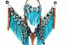 TURQUOISE ANGEL WING LEATHER HEADSTALL WESTERN HORSE FRINGE BRIDLE BREAST COLLAR
