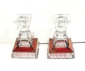 Westmoreland Glass Ruby and Diamond cut clear crystal candle holders pair