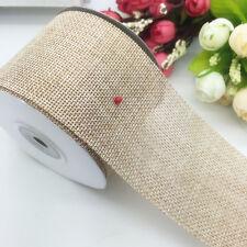New Faux Burlap Hessian Jute Bow Tape Arts Craft Gift Wrap Wedding Ribbon Khaki