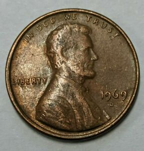 1969 D Penny Lincoln Cent Floating Roof No/Weak FG Initials Nice Error Variety A