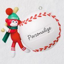 2018 Hallmark Baseball Star Sock Monkey 2018 Personalization Ornament