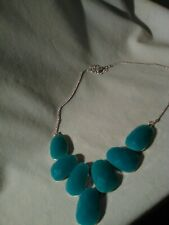 Necklace Silver Toned Fashion Trendy Teal Green /Blue Stone Statement Large