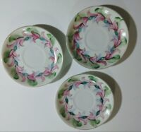 Set of 3 Vintage dessert plates with floral rim  made in Occupied  marked CMC