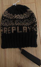 Replay Knitted Wool Mix Beanie Winter Ski Hat One Size Black & Beige