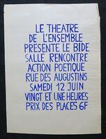 Affiche originale mai 68 THÉÂTRE DE L'ENSEMBLE Bleu poster may 1968 293