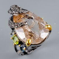 Rutilated Quartz Ring Silver 925 Sterling Handmade23ct+ Size 8 /R128251