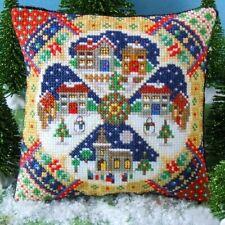 Christmas Village Mini Cushion Cross Stitch Kit, Sheena Rogers Designs