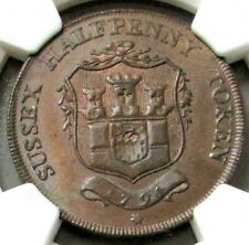 1794 GREAT BRITAIN 1/2 PENNY SUSSEX-FRANT PAYABLE BY G. RING NGC MS 64 BN D&H-23