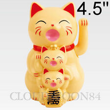 hinese Lucky Waving Cat Beckoning Maneki Neko Cream Wealth Fortune Feng Shui
