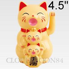 hinese Lucky Waving Cat Beckoning Maneki Neko Cream Wealth Fortune Feng Shui