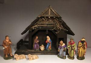 Marolin Krippenfiguren mit Stall, mit Könige, Hirte, Masse, Pappmaché, schön alt