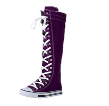 Womens Sneaker Knee High Lace Up Boots,7 B(M) US,Purple, ORIGINAL DW
