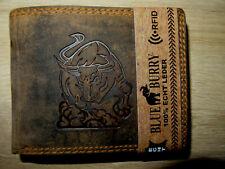 cf11506a31451 Blueburry Geldbörse Portmonee Voll Leder Stier Bulle Motiv RFID Biker Rocker