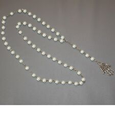 CHAPELET Main de FATMA KAMSA SAUTOIR Collier 78cm Perles Creme Nacré NEUF