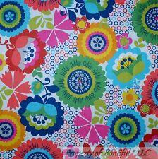 BonEful Fabric FQ Cotton Quilt Rain*bow Large Flower Retro Hippie Groovy Pattern