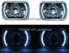 7X6 White LED Halo Projector Halogen Crystal Headlights Angel Eye Light H4 Bulbs