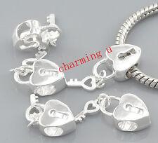 2pz ciondolo charm chiave e lucchetto cuore colore argento 15x10mm