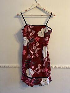 90s Y2K Size 12 Roxy Quicksilver Sun Dress Red Floral Retro Flower Print Strappy