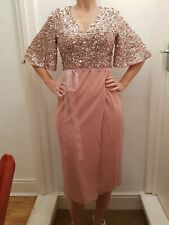 ASOS Pink Sequin Christmas Party Maxi Long Midi Dress size 10