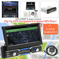 "1 DIN 7"" Andriod 8.1 HD 12V Flip Up GPS Navi Car Stereo MP5 Player Radio 1+16GB"