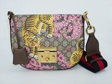 Gucci Women's Padlock Tigrotti Saddle Flap Bag, Beige Ebony/Multi, MSRP $1,980