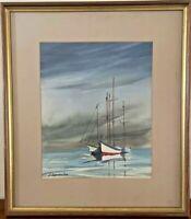Vintage Framed Sailboats ORIGINAL WATERCOLOR Painting Signed Anthony Shemroske
