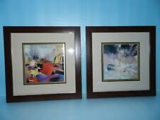 2 each  EXQUISITE CHIN(?) SIGNED ART PRINT SURREAL STILL LIFE~CHERRY WOOD FRAME
