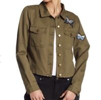 Romeo & Juliet Couture SIZE M Butterfly Patched Jacket, Military Olive, New $175