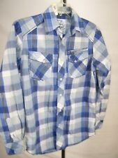 Modern Culture Blue White Plaid Long Sleeve Button Front Shirt Mens Size Small