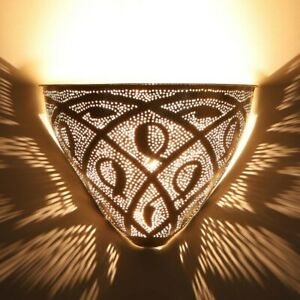 Moroccan wall lamp Silver Diren made of real silver-plated metal | oriental wall