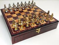 MEDIEVAL TIMES CRUSADES BUSTS GOLD SILVER Chess Set W Cherry Color STORAGE BOARD