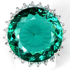 Fashion Women Silver Dark Green Emerald Gemstone Wedding Ring Jewelry Size 6-10