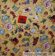 BonEful Fabric FQ Cotton Quilt Yellow Red Cowboy Western Wagon Horse Antique VTG