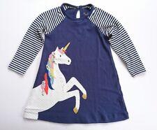 Ex-Boden niña JERSEY Grande Aplicación Vestido unicorn-duck-robin