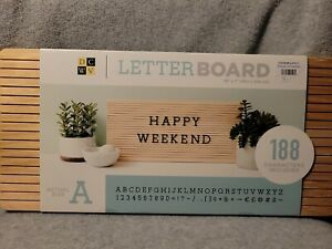"""American Crafts DCWV 15"""" x 7"""" Frameless Letter Board - Light Wood, 188 Character"""