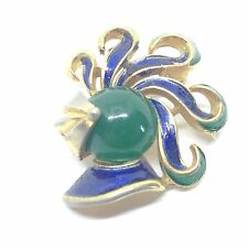 Signed CROWN TRIFARI Vintage JELLY BELLY KNIGHT BROOCH PIN Blue Green Enamel
