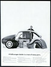 1962 VW Beetle classic car and parts photo Volkswagen 13x10 vintage print ad