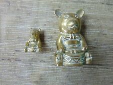 """2 LOT - VINTAGE BRASS TEDDY BEAR PLAYING THE DRUM 3 & 1"""" INCHES TALL TWO BEARS"""