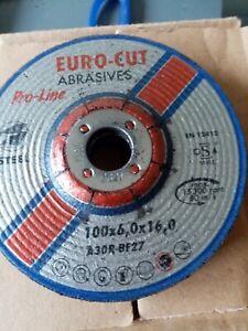 Euro Cut 100mm x 6mm Pro Metal Grinding Discs Box of 10, 30, 50