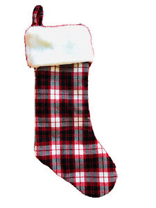 19 In Red White Plaid Christmas Stocking