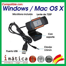 WEBCAM PARA PC / PORTATIL CON MICROFONO INCLUIDO USB WINDOWS 7 8 10 XP MAC OS X