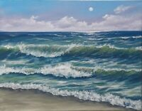"Art SALE ALL SEASON14""/11"" oil painting, Seascape,ocean,waves, landscape"
