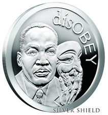 """Martin Luther King JR MLK 1 oz .999 silver shield Proof """"Disobey"""" Selma Freedom"""