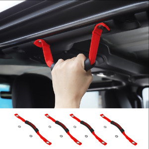 For 2020 Jeep Gladiator JT 4pcs Red Front&Rear Roll Grab Handles Off Road 4pcs