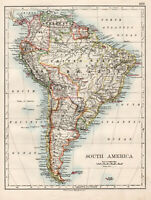 Antique Map Of South America Johnston 1892