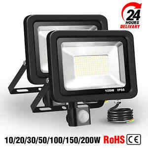 LED Floodlight PIR Motion Sensor 20W-200W Garden Outdoor Security Flood Lights